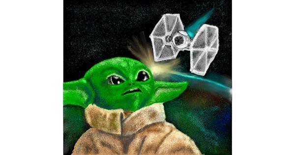 Baby Yoda drawing by Jison