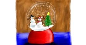 Drawing of Snow globe by Sara