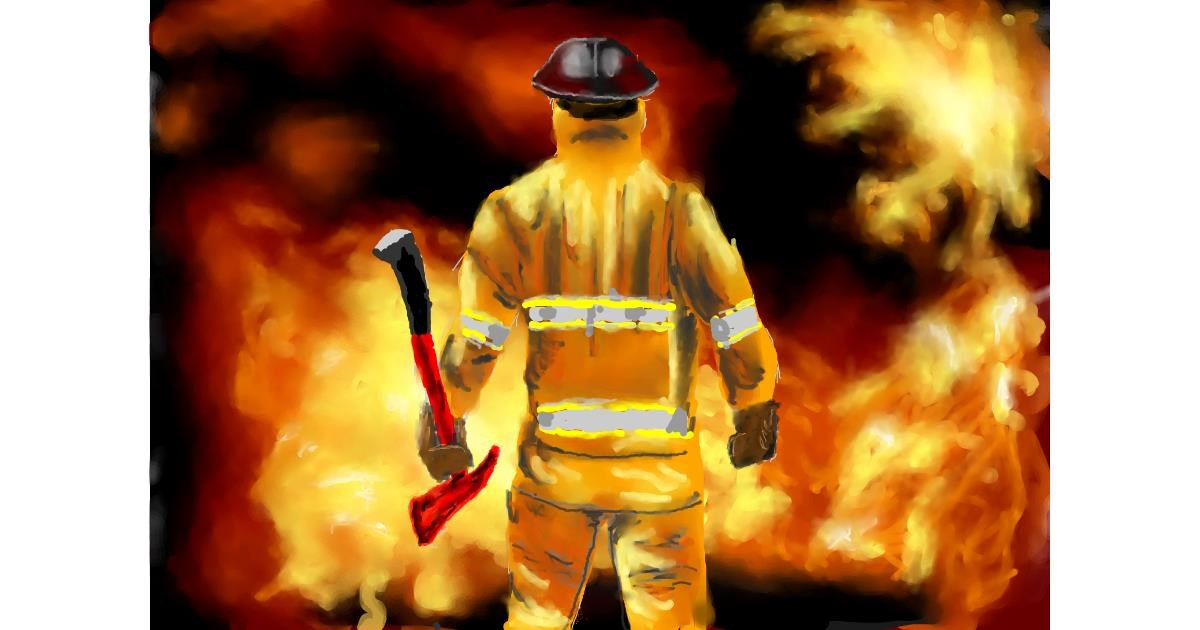 Firefighter drawing by Bicho