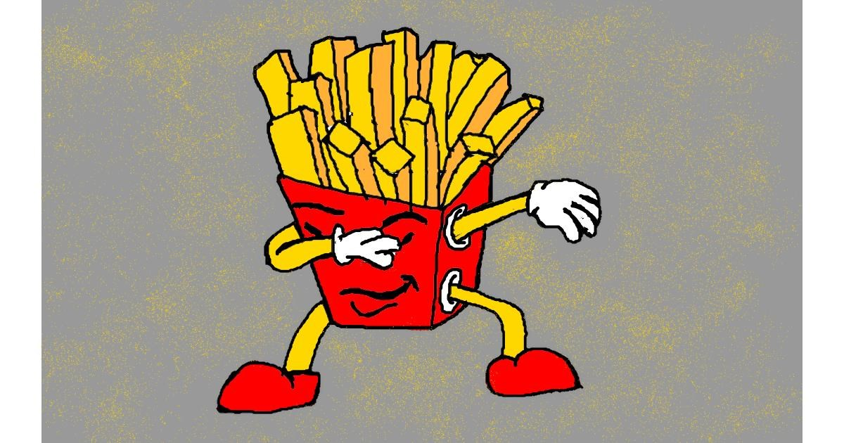 Drawing of French fries by Dara