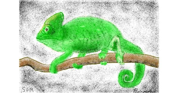 Chameleon drawing by Banana