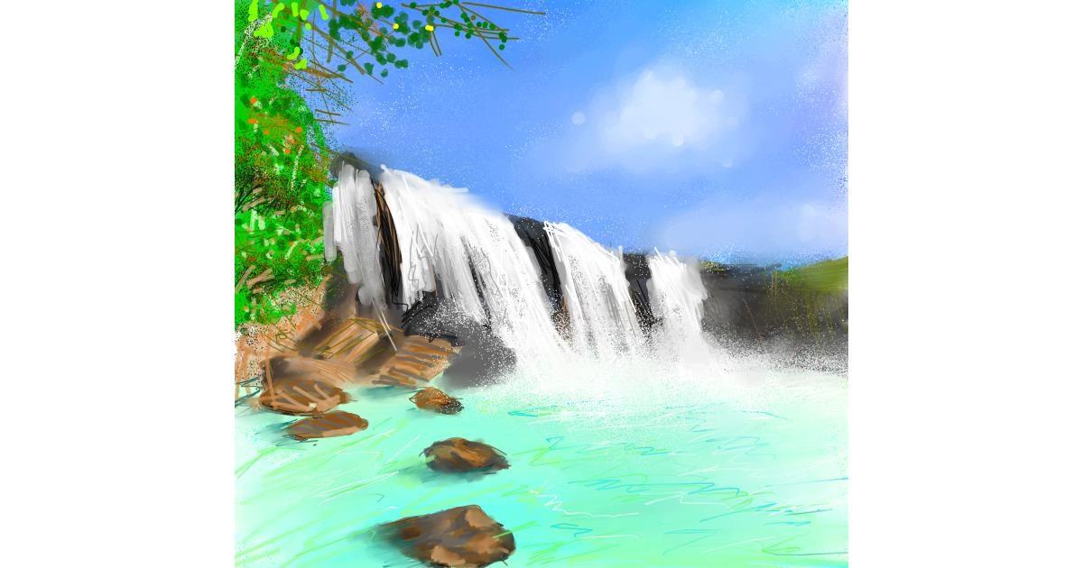 Waterfall drawing by Muni