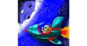 Rocket drawing by Al Alice