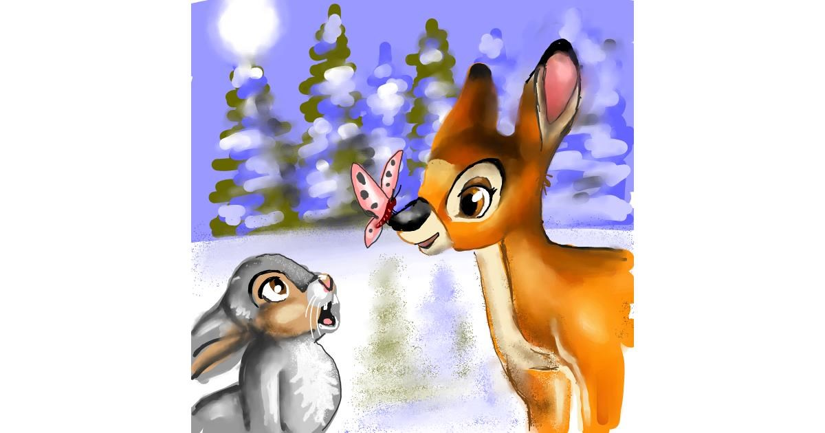 Drawing of Bambi by Leah