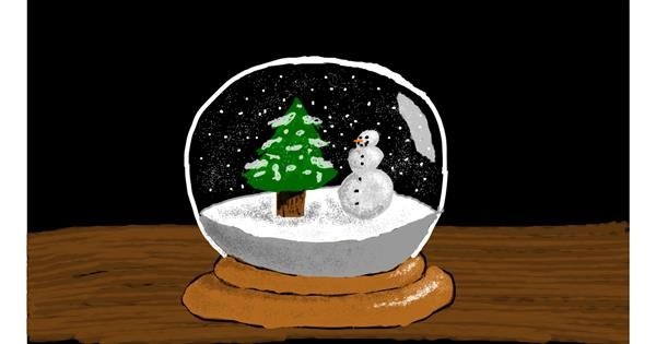 Snowglobe drawing by Sam