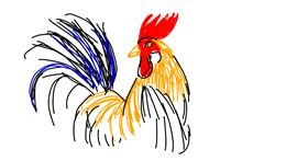Rooster drawing by Marta