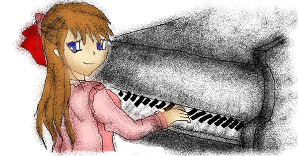 Piano drawing by Stephanie