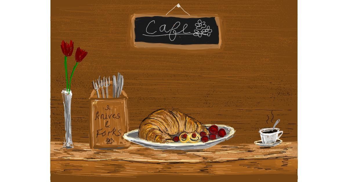 Croissant drawing by Tara