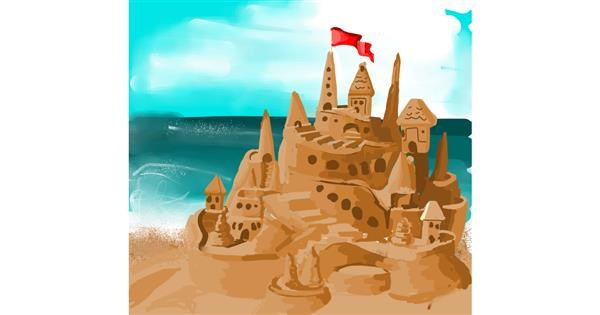Sand castle drawing by Rose