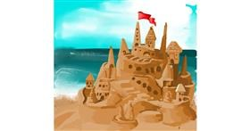 Drawing of Sand castle by Rose rocket
