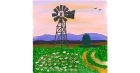 Windmill drawing by Nru