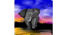 Elephant drawing by Rose rocket