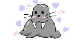 Walrus drawing by ʕ•́ᴥ•̀ʔっ