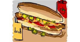 Hotdog drawing by Firsttry
