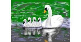 Swan drawing by PrettyPixels