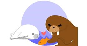 Drawing of Walrus by Redd_Pandaii