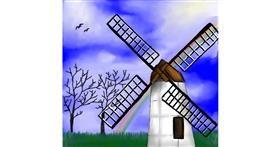 Drawing of Windmill by Bishakha