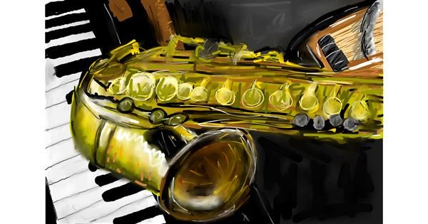 Saxophone drawing by Soaring Sunshine