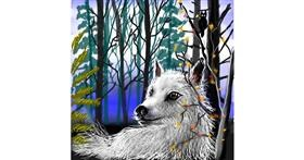 Drawing of Wolf by Leah