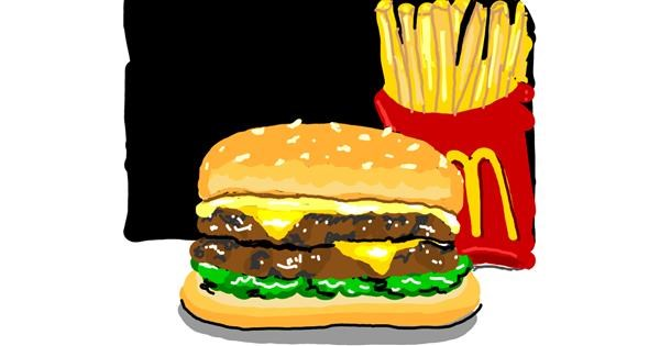 Burger drawing by Geo-Pebbles