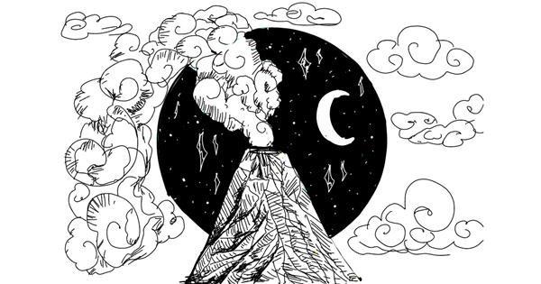 Volcano drawing by NYA