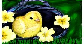 Easter chick drawing by Soaring Sunshine