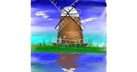 Windmill drawing by Bro