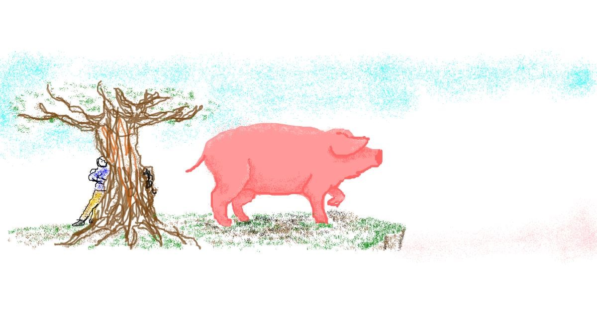 Pig drawing by 7y3e1l1l0o§