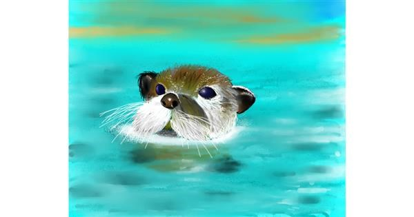 Otter drawing by Mitzi