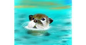 Otter drawing by Mitzi