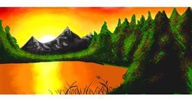Drawing of Sunset by IDon'tKnowWhatI'mDoing