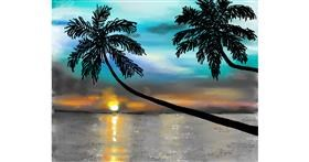 Palm tree drawing by Cec