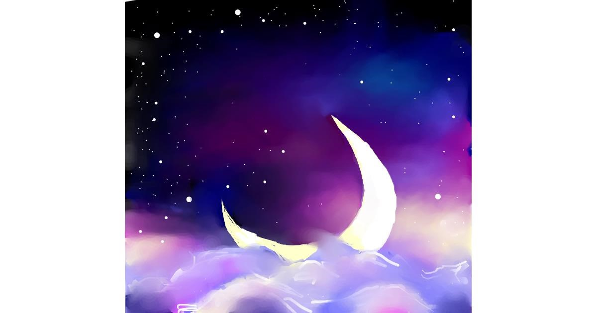 Drawing of Moon by Elliev