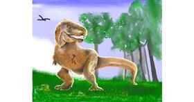 T-rex dinosaur drawing by Cec