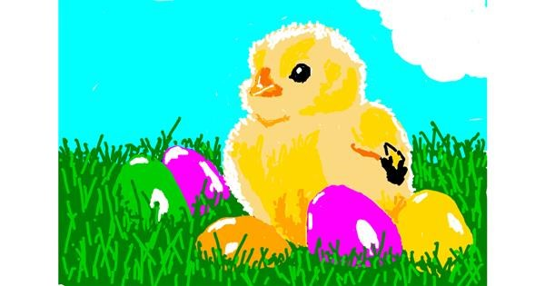 Easter chick drawing by Kaddy