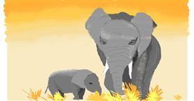 Elephant drawing by pajama