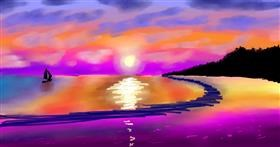 Sunset drawing by Sam