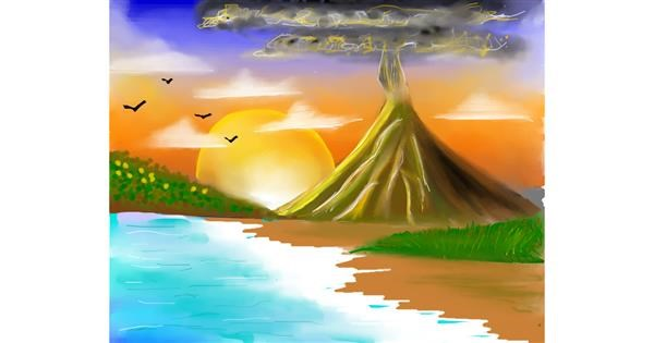 Volcano drawing by Mitzi