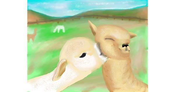 Llama drawing by Zi