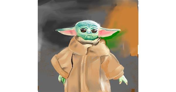 Baby Yoda drawing by Rose