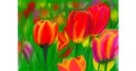 Tulips drawing by Pam