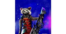 Raccoon drawing by Rose rocket