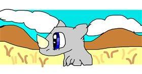 Rhino drawing by Mary