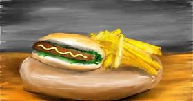 Drawing of Hotdog by Soaring Sunshine