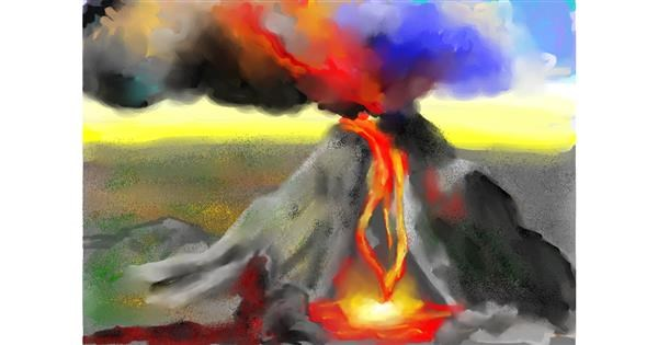 Volcano drawing by Sky