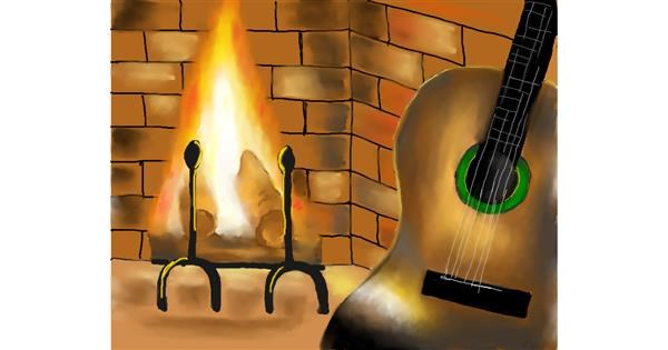 Guitar drawing by Cec