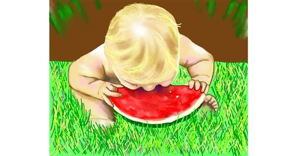 Watermelon drawing by Cec