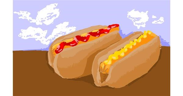 Hotdog drawing by RonNNIEE