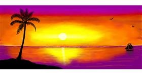 Drawing of Palm tree by Pinky