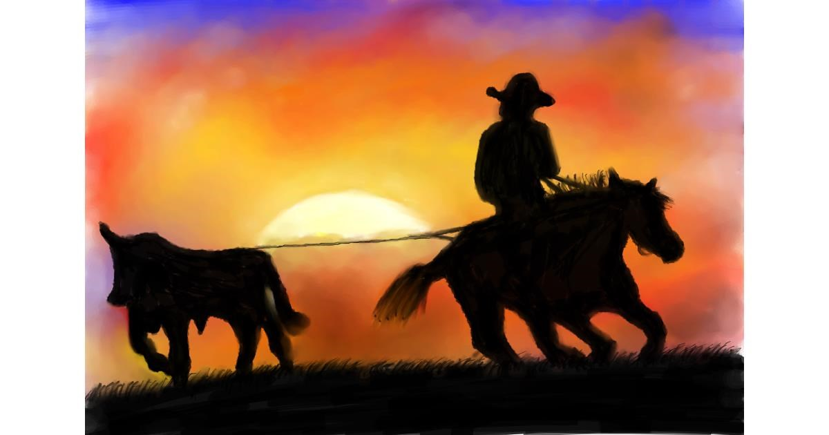 Drawing of Cowboy by Wizard